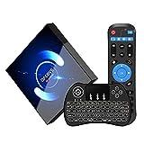 Android TV Box 10.0【4GB 64GB】QPLOVE Q6 Android Box TV H616 Quad Core 2.4G/5G Dual WiFi BT 5.0 3D 6K HD Smart TV Box Con Mini Wireless Backlit Keyboard