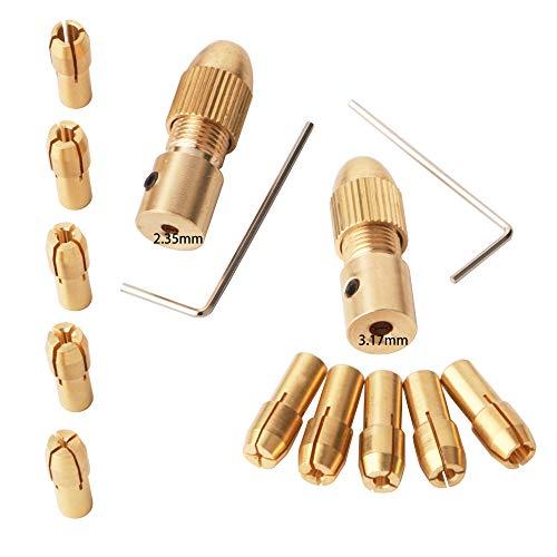 GTIWUNG 14 Pezzi 0.5-3mm Mini Drill Mandrini, 3.17mm/2.35mm Micro Trapano Pinze, Morsetto Presa Trapano Elettrico, Twist drill Chuck
