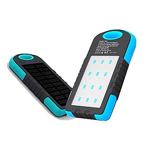 De powerbank op zonne-energie voor camping werkt met USB-kabel van de zaklamp buitenshuis, draagbaar, blauw