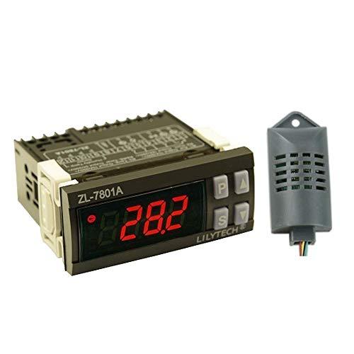 YELLAYBY Controlador de humedad de la temperatura PID inteligente Multifunción Termómetro de incubadora de huevos automáticos con pantalla LCD y dos sensores 100V-240V AC ZL-7801A