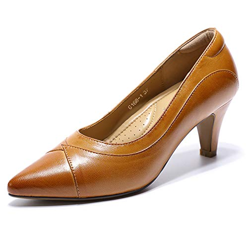 Mona flying Damen Leder Comfort Pumps Arbeitsschuhe High Heels Court Shoes Büro Businessschuh