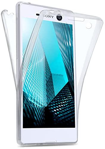 moex Double Hülle für Sony Xperia M5 Hülle Silikon Transparent, 360 Grad Full Body R&um-Schutz, Komplett Schutzhülle beidseitig, Handyhülle vorne & hinten - Klar