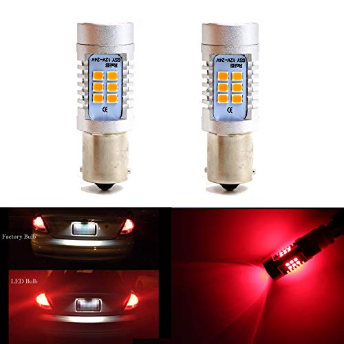1157 BAY15D 1016 1034 1178A 1196 2057 Brake Tail Light Bulbs 21 SMD Extremely Bright Red LED Bulb 2835 Chips Sider Marker Light Bulbs Lamp (Set of 2