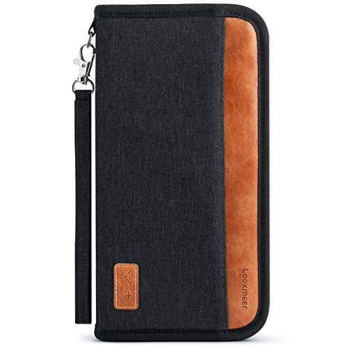 Looxmeer Reisepass Tasche Familie Reiseorganizer mit RFID-Blocker, Tragbare Reisepasshülle Ausweistasche für Damen und Herren, Schwarz