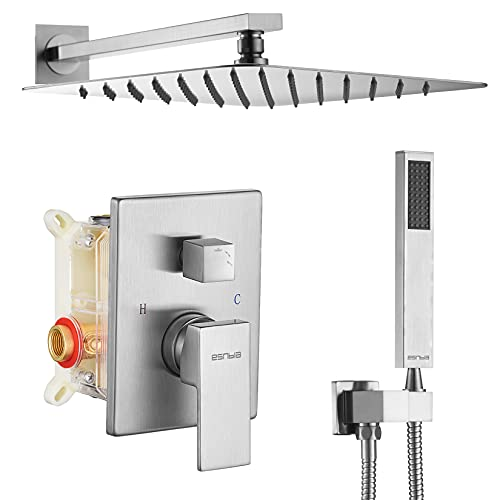 ESNBIA Brushed Nickel Shower System, Bathroom 10 Inches Rain Shower Head with Handheld Combo Set, Wall Mounted High Pressure Rainfall Dual Shower Head System, Shower Faucet Set with Valve and Trim