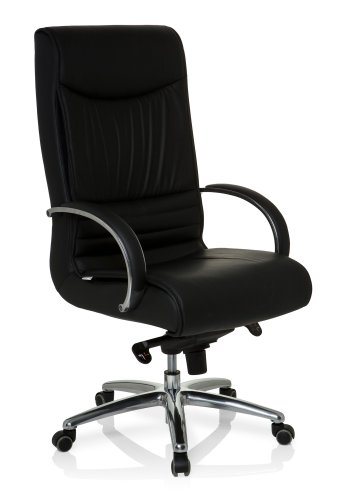 hjh OFFICE Bürostuhl/Chefsessel XXL F 400 Echtleder, Bürostuhl bis 150 kg, schwarz