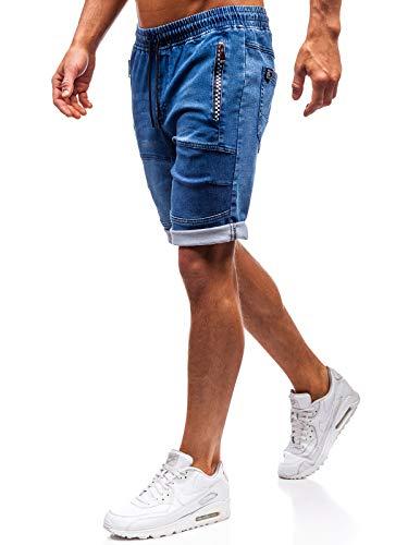 BOLF Hombre Pantalón Corto Pantalones Vaqueros Denim Regular Pantalón de Algodón Red Fireball HY188 Azul Oscuro M [6F6]