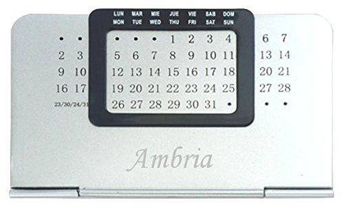 Ewiger Kalender mit eingraviertem Namen: Ambria (Vorname/Zuname/Spitzname)