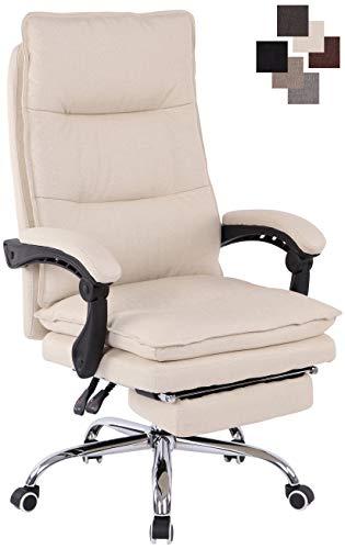 CLP Bürostuhl Power Mit Stoffbezug I Ergonomischer Bürosessel Mit Verstellbarer Sitzhöhe I Drehstuhl Mit Ausziehbarer Fußablage Creme