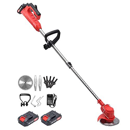 XHJL Desbrozadora de jardín, cortadora de césped inalámbrica eléctrica Potente cortadora de césped de 24 V, Rojo, 850 W, Peso Ligero de 1,2 kg (Incluye 2 Pilas, Cargador y Cuchillas)