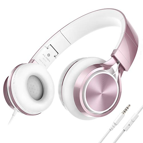 AILIHEN MS300 Wired Headphones with Microphone Folding Lightweight Headset for Cellphones Tablets Smartphones Chromebook Laptop Computer Zoom Skype Mp3/4(Rose Gold)
