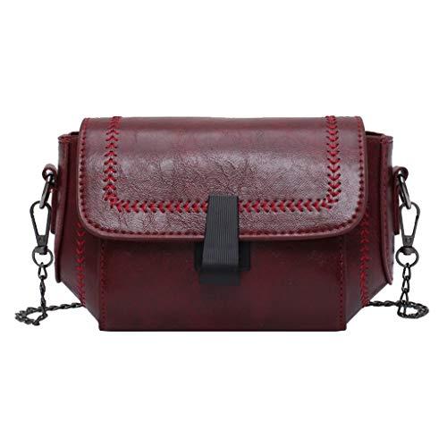 Winkey Einfache Mode Frauen Schultern Retro Handtasche Geldbörse Handy Shopping Bag Damen Vintage Messenger Bag Handtasche (Wein)