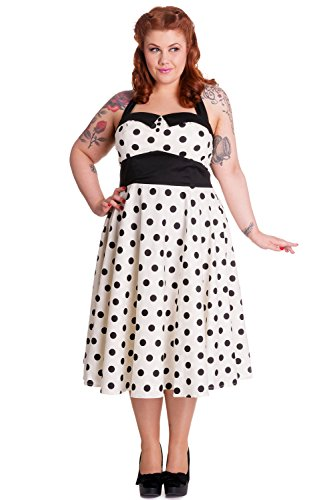Hell Bunny Plus White Black Mod Dots 60's Polka Dot Halter Party Dress (3XL)