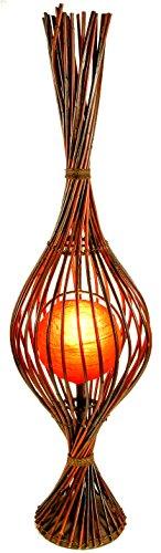 Guru-Shop Staande Lamp/vloerlamp, Exotische Lamp in Natuurlijk Materiaal - Kokopelli Soriso Floor 135 cm, Rattan, Staande Lampen van Natuurlijke Materialen