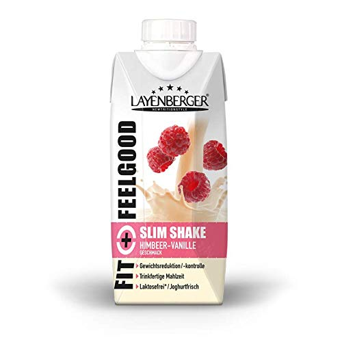 Layenberger Fit+Feelgood Slim Shake Himbeer-Vanille, Trinkfertige Mahlzeit zur Gewichtsabnahme und -kontrolle, ersetzt eine Mahlzeit bei nur 208 kcal, glutenfrei, laktosefrei, (8 x 330ml)