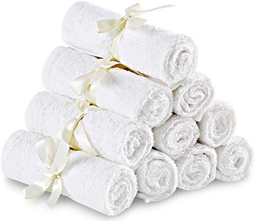 Utopia Towels - Baby Waschlappen aus Bambus 10er Pack - 25 x 25 cm, Weiß