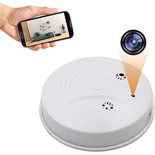 GEQWE Cámara Espía Oculta WiFi, Detector De Humo HD 1080P Cámara Oculta Seguridad Doméstica Inalámbrica con Visión Nocturna, para El Hogar Y La Oficina