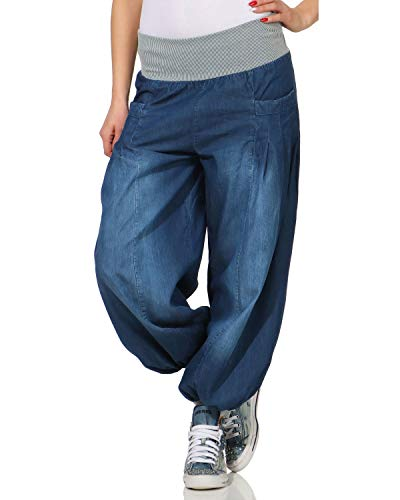 ZARMEXX Damen Pumphose im Denim Style Jeans Tanzhose Aladinhose zum Chillen Haremshose dunkelblau (34-42)