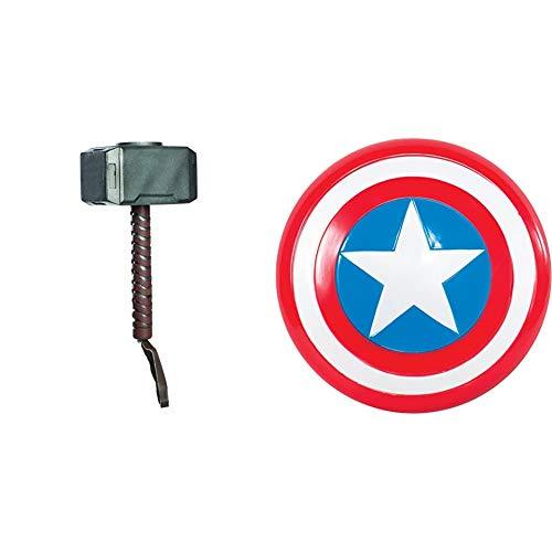 Avengers - Martillo de Thor para Disfraz de niño, Talla única Infantil (Rubie'S 35639) + Escudo de Capitán América para niño, Talla única Infantil (Rubie'S 35640)