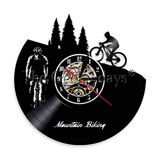 TYFEI 1 Stück Mountainbike Wanduhr Freestyle Radfahrer Retro Wand Art Deco Racing Bike Fahrer Silhouette Beleuchtung Fahrrad Uhr