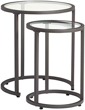 Best Studio Designs Home Camber Nesting Tables Metal and Glass Side Tables