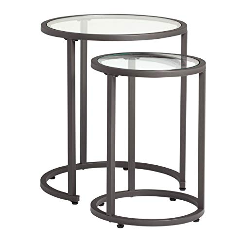 Studio Designs Home Camber Nesting Tables Metal and Glass Side Tables