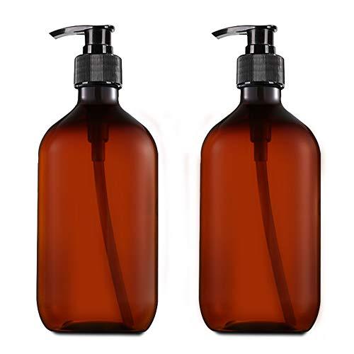 Onero 2 Botellas de Champú Vacías, Botella de Bomba de Prensa Versátil de 500 ml, Recipiente de Loción Sin Goteo, Dispensador de Jabón de Manos, Recargable, Plástico (Marrón)
