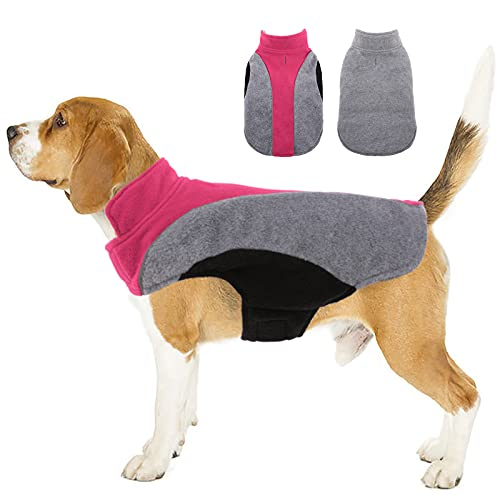 Kuoser Dog Fleece Vest, Reflective Dog Winter Coat Outdoor Jacket, Soft Reversible Cold Weather Dog Coat Warm Pet Apparel Puppy Clothes for Small Medium and Large Dogs Cats French Bulldog Labrador