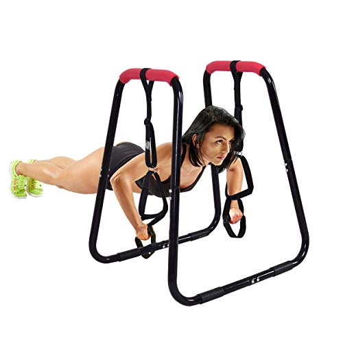 Goplus Dip Bars Fitness Dip Station Heavy Duty Strength Power Training Stand W/Slings Loops for Home Gym Workout 2 Dip Bars (Black)
