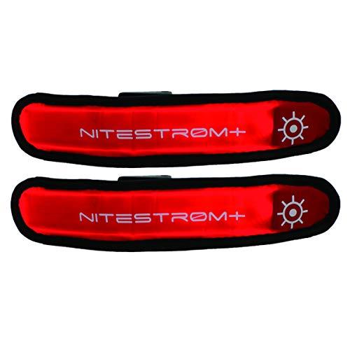 ZNEX LED Armband Leuchtarmband für Sport & Outdoor, 2er Set rot/rot. Hell leuchtendes LED Jogging Fahrrad Licht Warnlicht Blinklicht für hohe Sichtbarkeit im Dunkeln