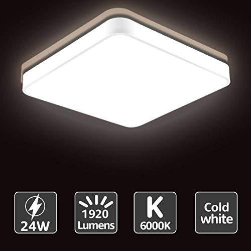 Sararoom 24W Lámpara de Techo Moderna LED, 1920LM Luz de Techo Cuadrada -19.67in -6500K Blanco frio Plafón LED para Cocina Comedor Estudio Pasillo Dormitorio Oficina