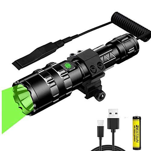 Luz de caza verde, antorcha LED verde de largo alcance de 350 yardas, linterna táctica de 1200 lúmenes con interruptor de presión Luz de depredador impermeable para caza de cerdos coyote