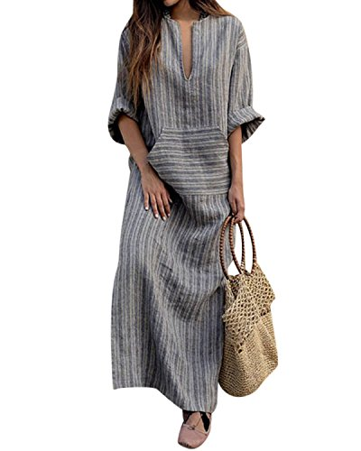 Jacansi Women Beach Party Stripe Print Long Sleeve V-Neck Cotton Linen Maxi Dress (02-Grey, XL)