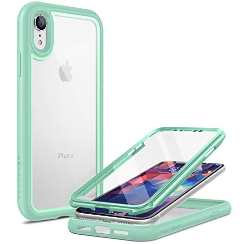 YOUMAKER Hülle für iPhone XR 360 Grad Schutz Crystal Cover durchsichtig Case Stoßfest Kratzfeste Panzerhülle Transparente Schutzhülle Staubdicht handyhülle 6.1 Zoll-Grün