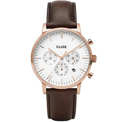 Cluse Aravis herenhorloge kwarts 40 mm lederen band CW0101502002