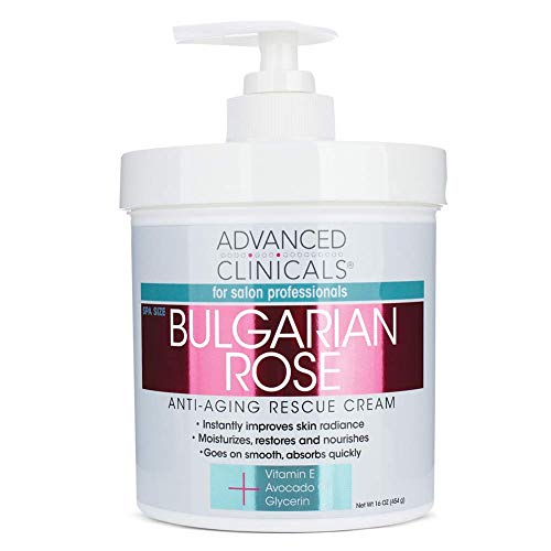 Advanced Clinicals Bulgarian Rose Oil Cream Anti-Aging Rescue for Face, Hands, Neck. Spa Size 16oz (16oz)