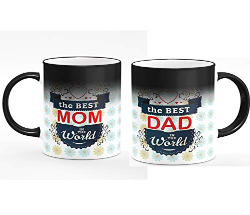 Youth Style™ Heat Colour Changing Magic Coffee Mug Set of 2 for Mom Dad Gift on Anniversary & Birthday Gift (Magic)