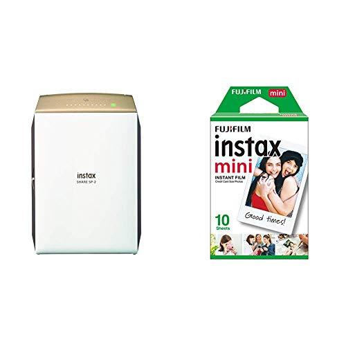 Fujifilm Instax Share SP-2 - Impresora para Smartphones, Dorado + Instax Mini Brillo - Pack de 10 películas fotográficas instantáneas (1 x 10 Hojas), Color Blanco
