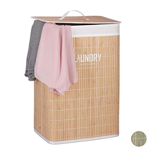 Relaxdays Wäschekorb Bambus, mit Deckel, 60 l, Wäschesack, faltbar, Wäschesammler mit Aufdruck, 60x40x30cm, Natur