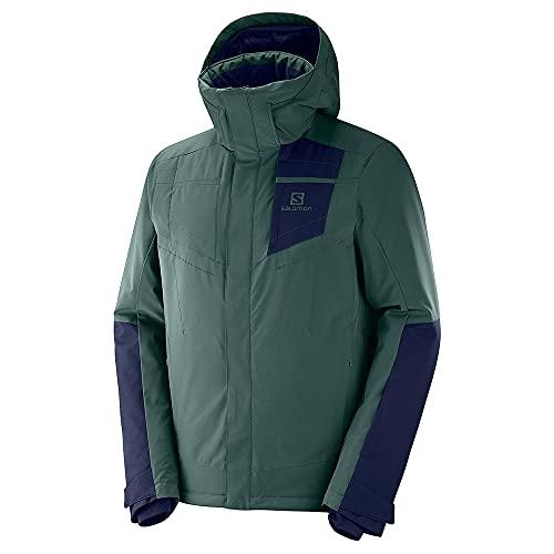 Salomon Herren Ski-Jacke mit Kapuze, STORMSTRONG JKT M, Synthetik, grün/blau (Green Gables/Night Sky), Größe: M, LC1193800