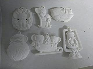 Mouse Ornaments Asst #2 Set of 6 Ready to Paint Ceramic Bisque