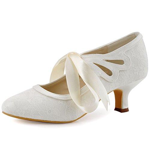 Elegantpark HC1521 Escarpins Femme Petit Talon Dentelle Ruban Mary Jane Chaussures Mariée Bout Rond Chaussure Mariage Femme Ivoire 40