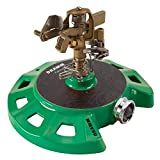 Dramm 15084 Circular Base Impulse Sprinkler with a Heavy-Duty Metal Base, Green