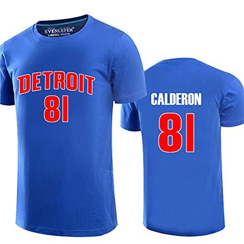 WEIZI Calderon # 81 Pistons Camiseta de Baloncesto, Manga Corta, para Deportes al Aire Libre, Ocio, Cuello Redondo, Traje de Entrenamiento de algodón