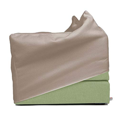 Arketicom Italian Faltmatratze TOUF, The Bed That Becomes a Pouf,Light Green Color Fabric Base and External Cover Beige 80x63x45 cm Artisans Italian Product 100% Hand Made
