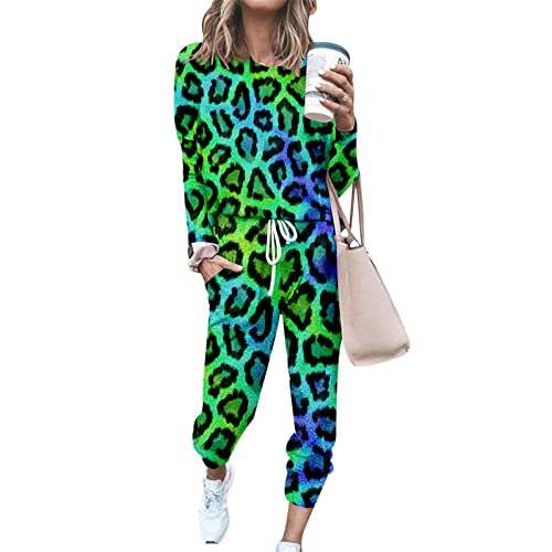 FANSU Chándal Conjunto Mujer Manga Larga, Patrón Leopardo Impresión Casual Conjuntos Deportivos Completo Pijamas Trajes Talla Grande 2 Piezas Ropa de Casa Sweatshirt + Pantalones