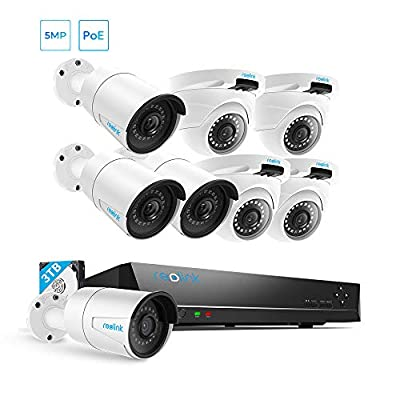 Reolink Security Camera System, 8pcs 5MP PoE Cameras with 16 Channel PoE NVR Recorder, Waterproof for Outdoor Indoor Use, Pre-Installed 3TB Hard Drive, 24/7 Recording