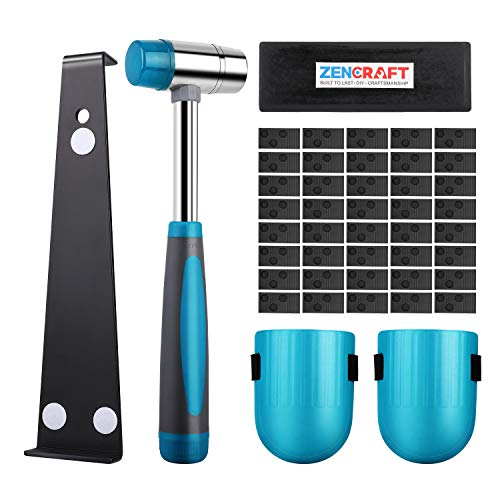 Premium Laminate Wood Flooring Installation Kit | Heavy Duty Pull Bar | Durable Rubber Tapping Block | Double-Faced Carbon Steel Hammer| Comfortable Foam Knee Pads | 40 Wedge Spacers
