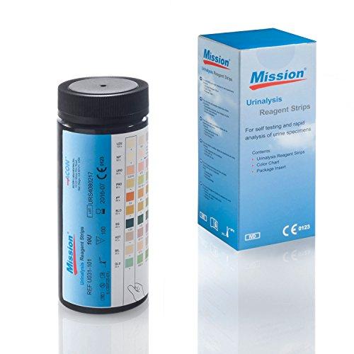 Urinteststreifen Mission 10 - 100 Urinanalysestreifen - Schnelltest auf 10 Parameter