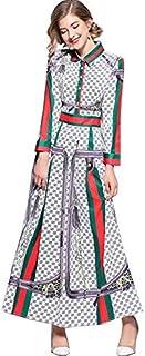 فستان كاجوال مطبوع ماكسي من واي اند دي للنساء، بصف واحد من الازرار واكمام طويلة مقاس XXL